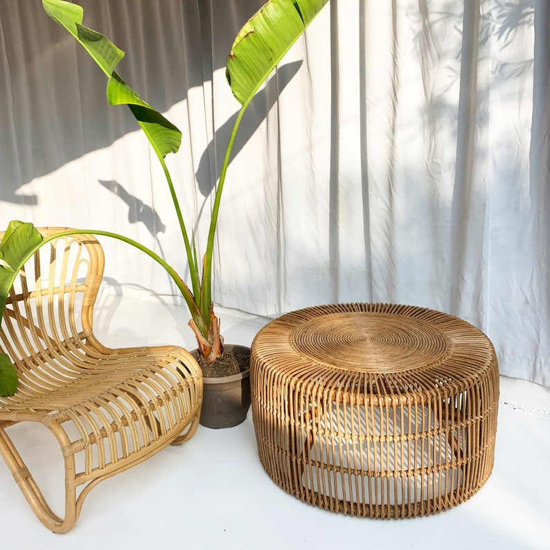 Merveilleux Classic XLG Rattan Coffee Table   Vintage Brown