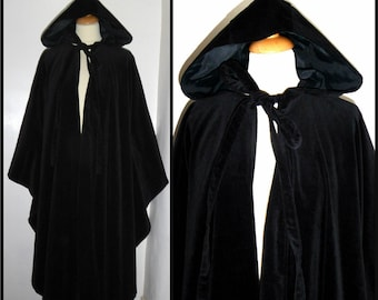 Vintage Laura Ashley cotton velvet waterfall hooded cloak cape One Size