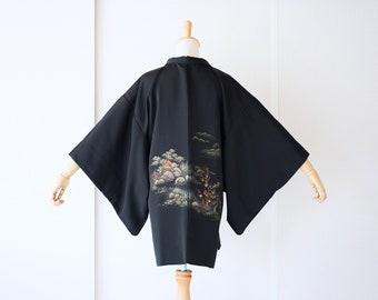 Lounge wear Women/'s tops Casual tops Unisex kimono top Hand block printed haori Kona Navy block printed cotton haori