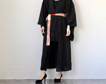 b6c006f0e Altered kimono robe with belt, silk dressing gown, vintage /4087