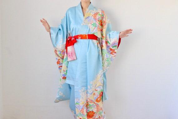 embroidered Furisode, maxi kimono, Japanese kimono