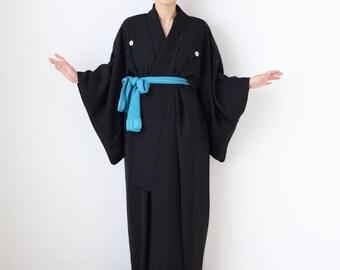 black plain kimono, maxi kimono, black dress, long kimono, kimono robe, mourning dress  /3592
