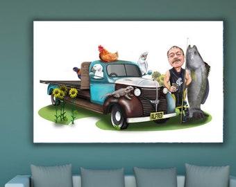 Custom Car portrait - great birthday gift for a car-loving husband or boyfriend