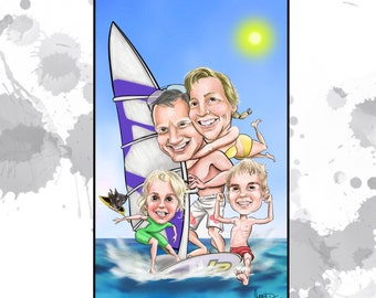 Custom caricature - Family of 4 caricature - perfect Christmas gift for those hard to buy for!