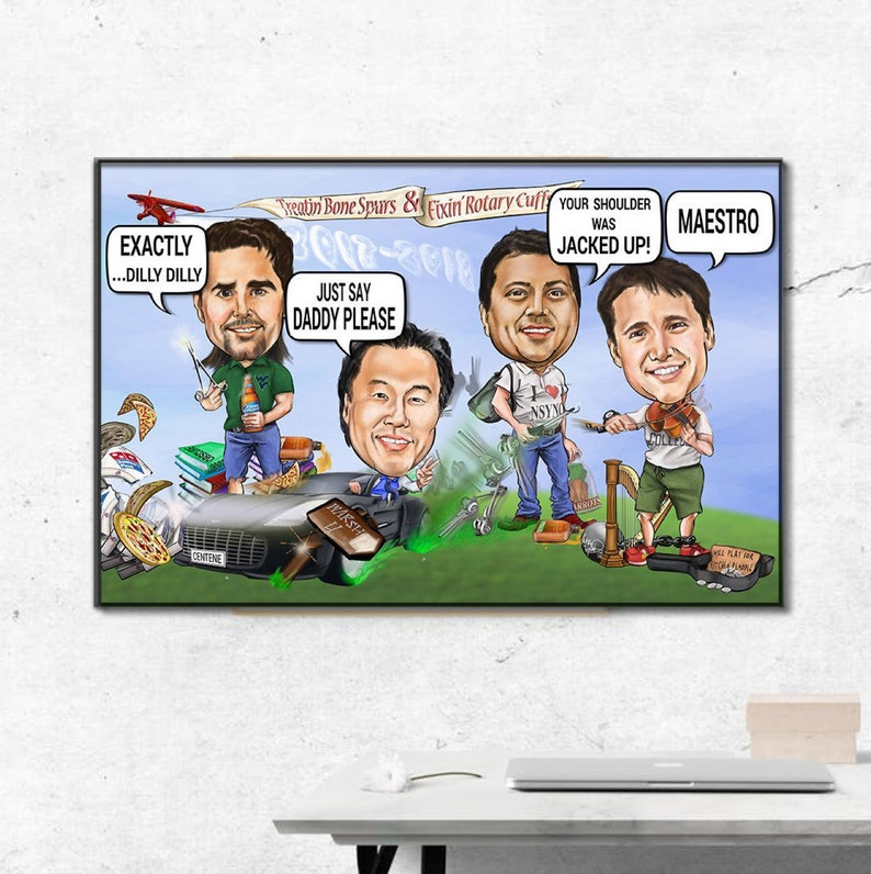 2258f057e0ee74 Custom Group team or corporate caricature perfect gift for