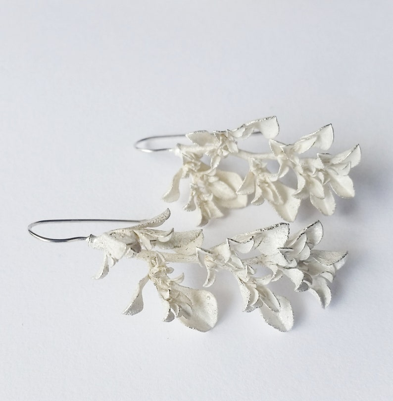 Galenia weed unique jewellery Large Botanical silver earrings nature cast Women/'s drop earrings.