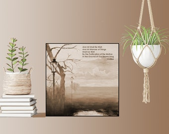 a46cbdd2c019 T.S. Eliot-The Wasteland-FRAMED And All Shall Be Well-Watercolor Sepia or  Blue tone pen and Ink Landscape with Poetry