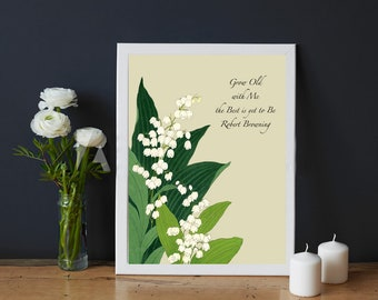 Robert Browning Quote cross stitch chart pattern whimsical floral cottage shabby chic Love marriage simple 14 count God Be Thanked