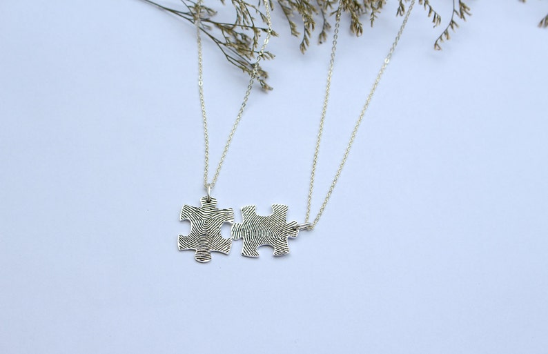 c8dc1db36a Set of 2 Actual Fingerprint Puzzle Couple Necklace Custom   Etsy