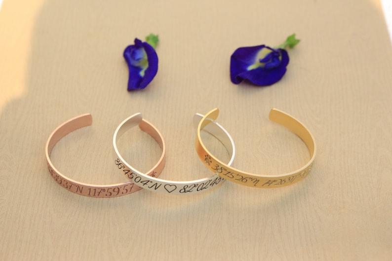 Bridesmaid Gift Location Bracelet Personalized Latitude Longitude Jewelry Delicate Coordinates bracelet