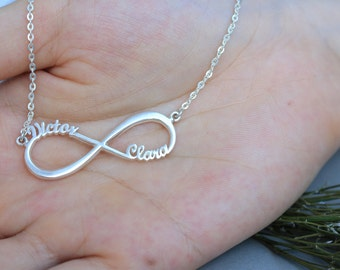 Personalized Infinity Necklace - Eternity Necklace in Sterling Silver - Promise Necklace - Silver Necklace - Christmas Gift