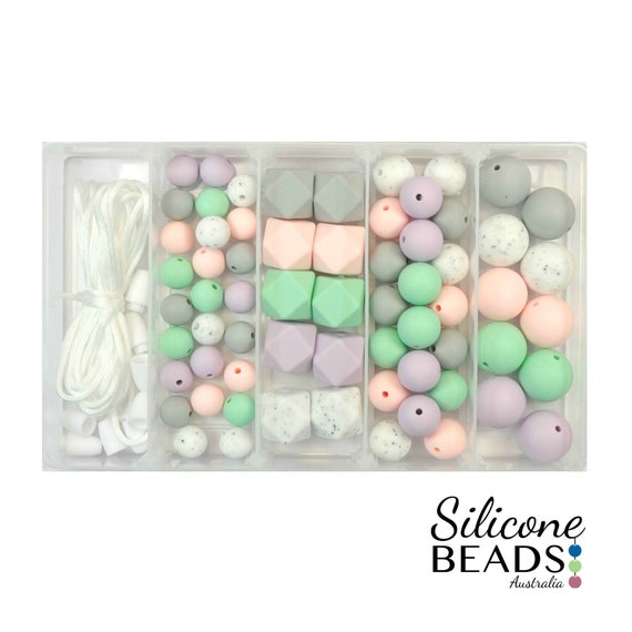 Bracelets and Chew Bead Jewelry Sensory /& Crafting 100pc 12mm Silicone Beads for Making Necklaces Includes Nylon Rope and Clasp Teethers Perfect for Nursing