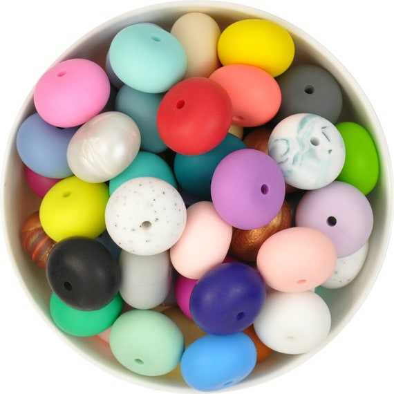 10 silicone beads GREY MARBLE abacus 25mm BPA free baby teething necklace white