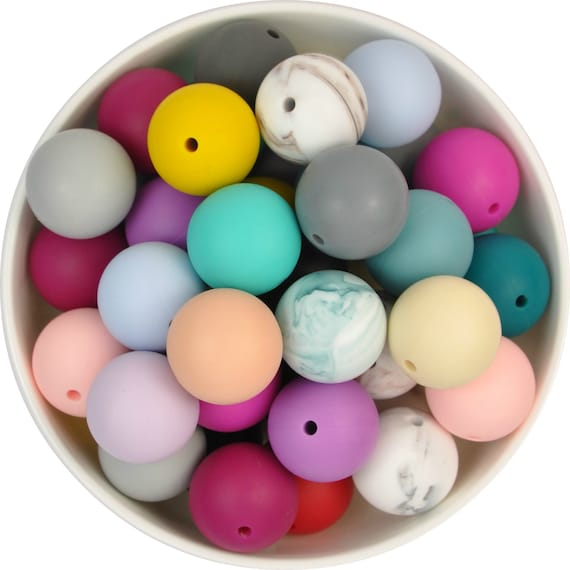 5x Large round  silicone teething beads 22mm