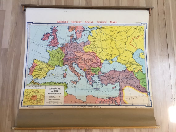 1967 Denoyer - Geppert Pull Down School Map EUROPE in 1914 before the GREAT  WAR / school map wall Europe in 1914 (English)