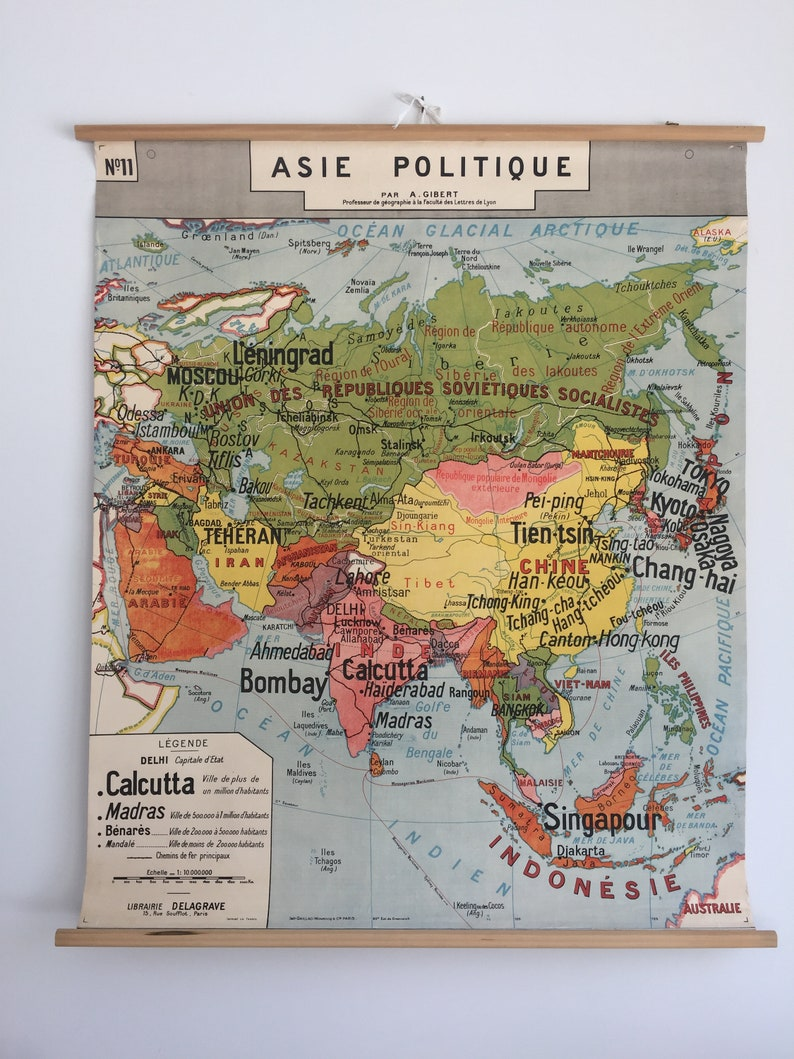 Map Of Asia 1950.1950 S Delagrave Pull Down School Map Of Asia French Political 1950 S Map Delagrave Geographical School Wall Asia Policy