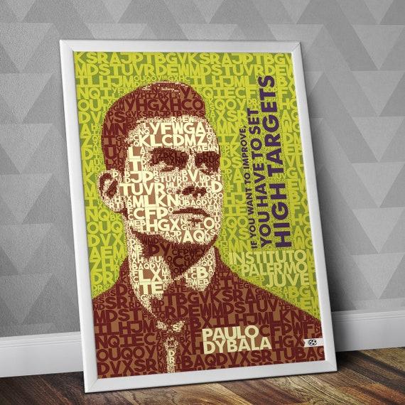 Paulo Dybala Zitat Spieler Zitate Typographie Druck Juventus Juve Fußball Print Italien Serie A La Vecchia Signora