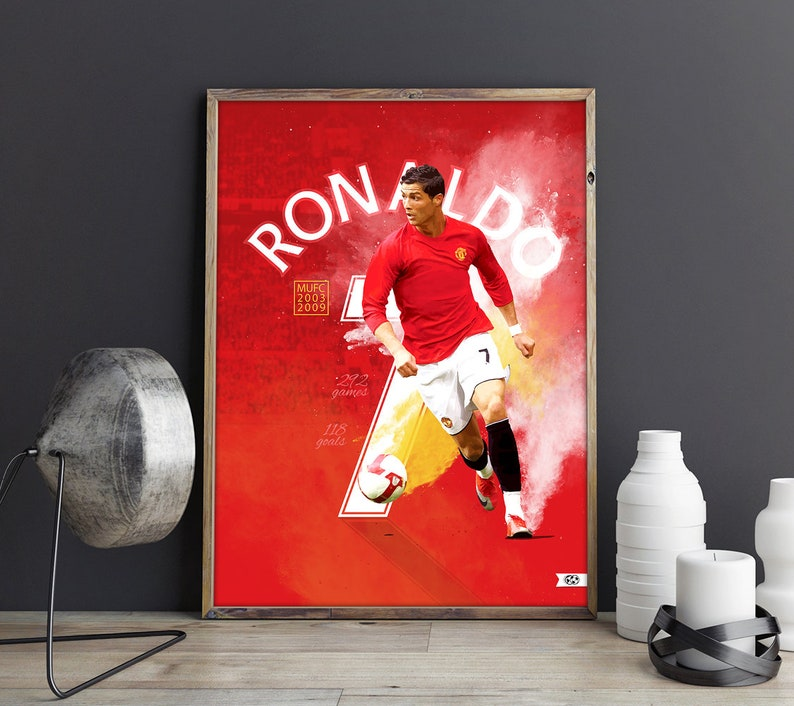 Manchester United  Red Devils  Cristiano Ronaldo Print  MUFC Poster   Cristiano Ronaldo Poster  MUFC Cristiano Ronaldo