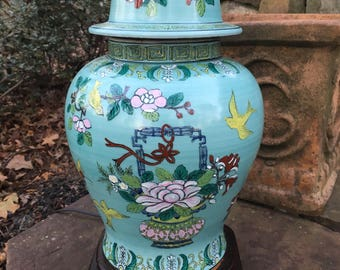 Chinoiserie Asian Turquoise Lamp with Greek Key trim and flowers