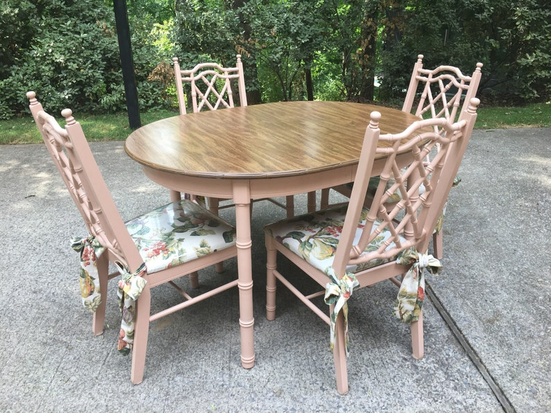 Faux Bamboo Kitchen Table And Four Chairs With Table Leaf