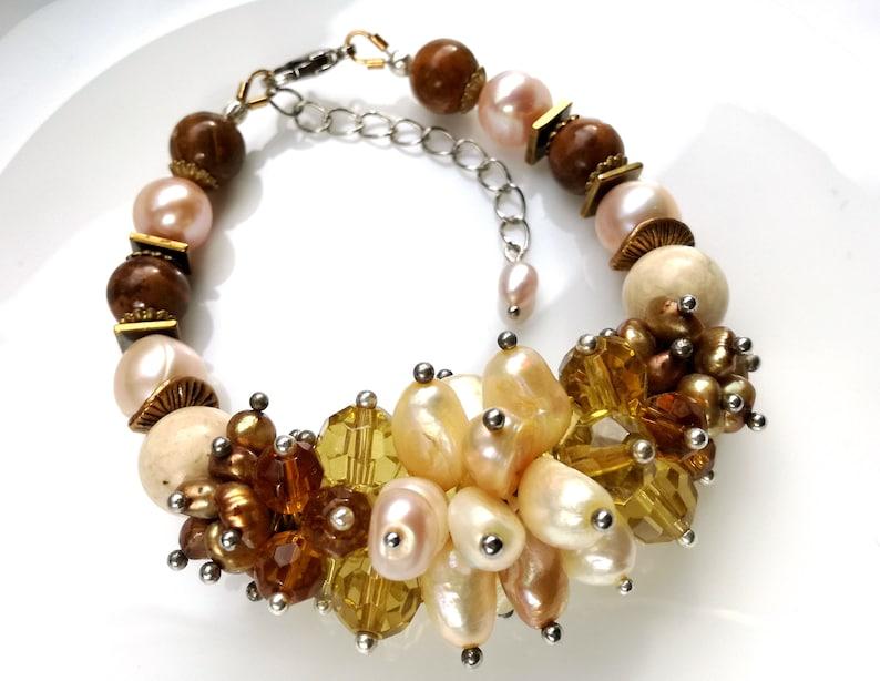Gemstone Bracelet Gift Idea Freshwater Pearl Jewelry Brown image 0