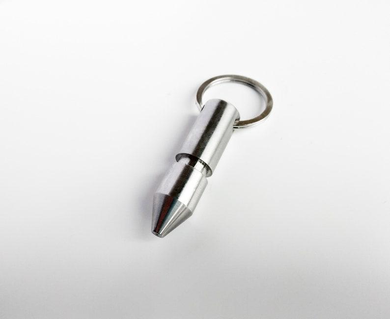 Stainless Steel Bullet Pendant Keychain Spike Customizable image 0