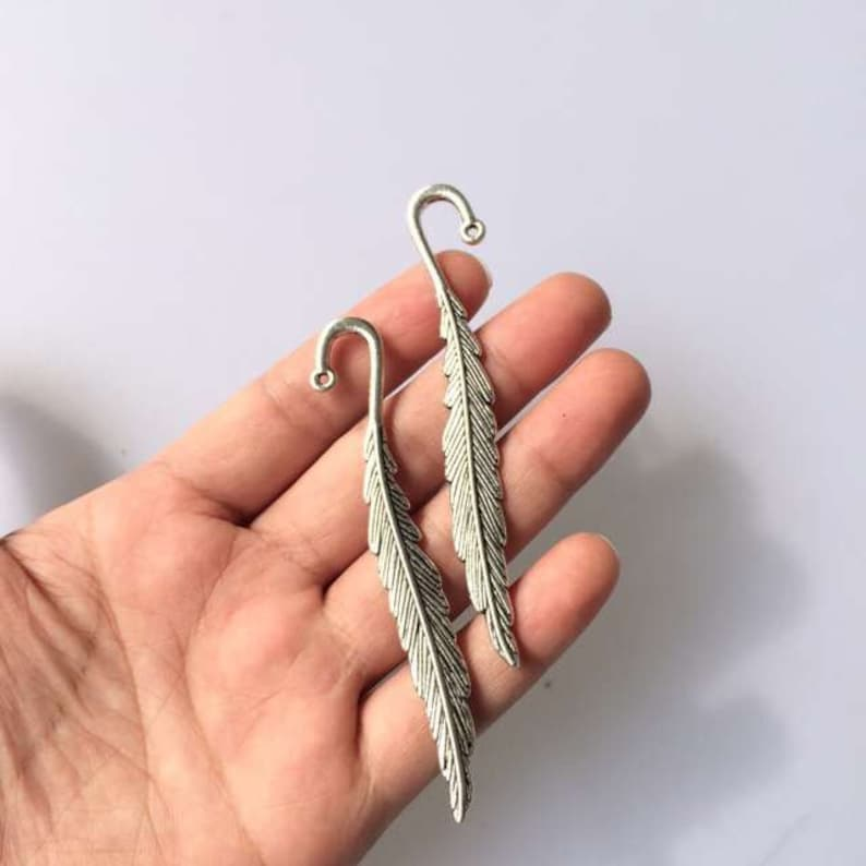 10pcs Bronze Solver Plated Bookmark With Loop Vintage Feather Metal Book Mark T187