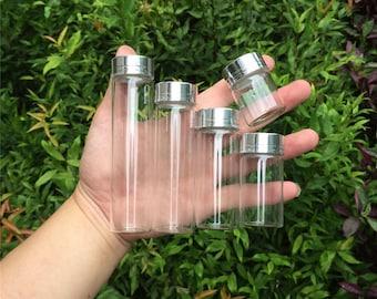 50pcs 15ml 25ml 40ml 50ml 60ml Glass bottles with Screw Aluminium Cap Silver Empty Glass Jars Vials