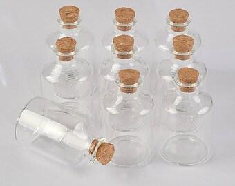 12pcs 45ml  Transparent Glass Cork Bottles Glass Vials Jars Empty Storage Wishing Bottles Decorative Diy 40x63x12.5mm