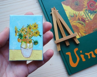 Van Gogh sunflowers, mini canvas with easel, miniature collectible, hand painted