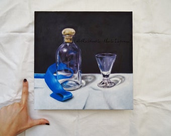 Wall painting, Still Life with blue ribbon, original oil painting