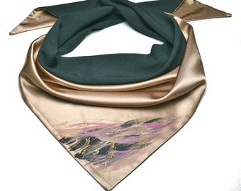 Quiet storm. Unique, Hand Painted, two side, triangle scarf for women.