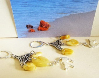 6e8362208076 Natural Baltic Amber Cat yellow beads suspender opaque Earrings 7.3 gr.  silver color clasp