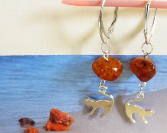 8844fc2c061d Cat 100% Natural Baltic  Amber  Antique brown transparent beads  Earrings  4.8 gr. silver 925 clasp