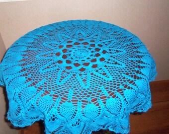 """Blue Crochet Doily / Large Doily  / Round 33 """""""