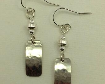 Sterling Rectangle Dangle Earrings