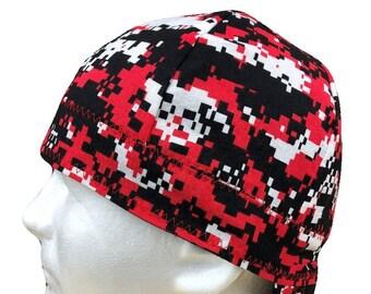 Welding Cap Digital Camo Red Handmade Reversible Hat by Valiska Designs 6e85acdaa77e