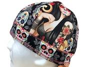 Welding Cap Sexy Sugar Skull Tattoo Girls Handmade Reversible Hat by Valiska Designs