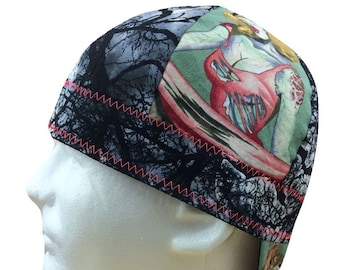 6b0e6069a78 Welding Cap Sexy Zombie Girls Haunted Woods Handmade Reversible Hat   Halloween Collection