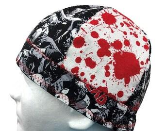 4787f6660e0 Welding Cap The Walking Dead Zombie Blood Splatter Reversible Hat Handmade  by Valiska Designs