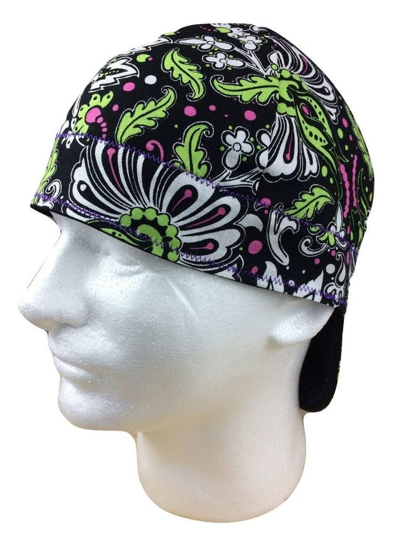 WELDING CAP WITH  PURPLE  BANDANA DESIGN FABRIC