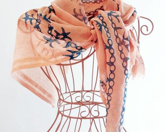 Pink Scarf Natural Dyed Hand Block Printed Blue Ethnic Floral Motifs Natural Colors Traditional Handcrafted Turkish Cotton Anatolian Ottoman