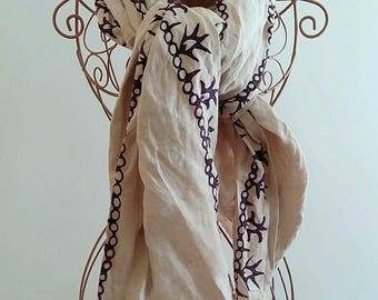 Grey Linen Scarf Natural Dyed Hand Block Printed Purple Ethnic Floral Motifs Natural Colors Turkish Shawl Anatolian Ottoman