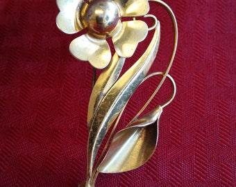 273772193207 Vintage Truart Signed Flower  Floral Pinbrooch 925 Sterling Bb 446