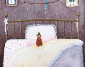 Instant Art Download / Printable art / Wall art / Little Bear on the Bed