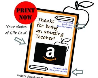 Teacher Appreciation Amazon Gift Card Holder For Last Day Of School Bus Driver DIY Printable Instant Download