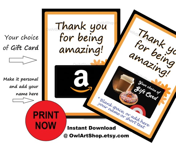 Thank You Gift Card Holder Thanks For Being Amazing Amazon Etsy