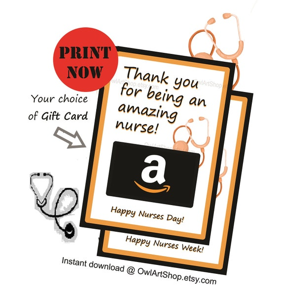 picture about Printable Amazon Gift Card known as Nurses working day reward card holder, Nurses Appreciation Amazon reward card holder, card for nurse, Do it yourself printable, immediate obtain