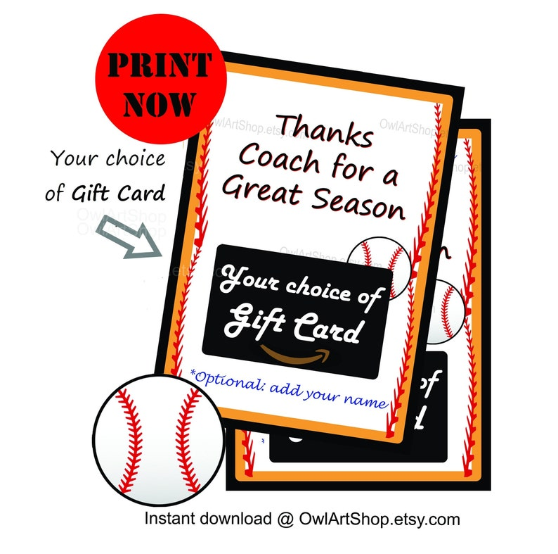 Coach Thanks For A Great Season Baseball Gift Card Holder End Of Season Card Coach Appreciation Diy Printable Instant Download