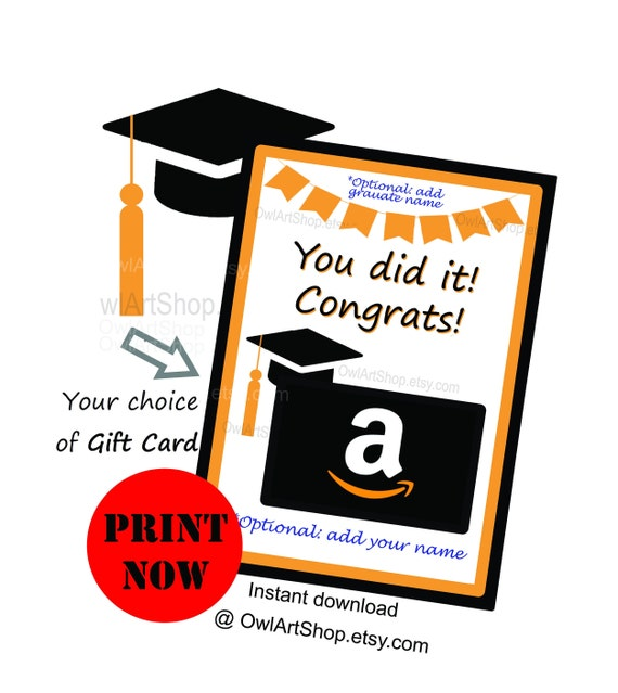 photograph regarding Amazon Printable Gift Card referred to as Commencement reward card holder, Oneself did it! Amazon present Card Holder, Card for graduate, Do-it-yourself printable, instantaneous down load no be reluctant
